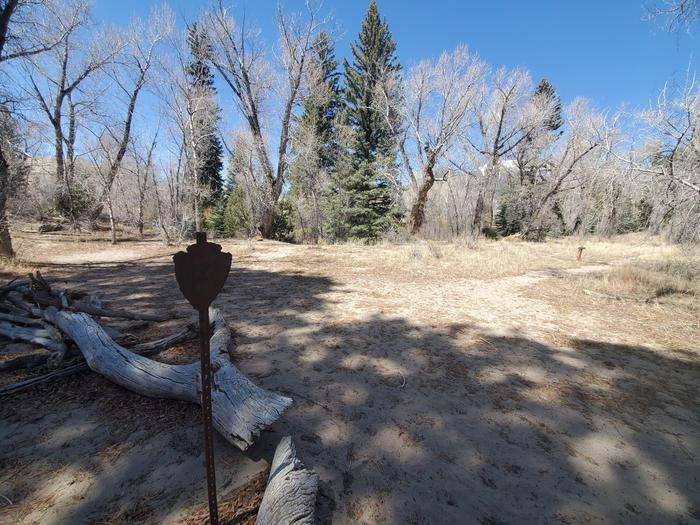 A flat sandy area surrounded by trees, with a metal sign in the middle marking the Indian Grove campsite.Indian Grove is one of the designated backcountry sites, marked with a metal arrowhead sign.