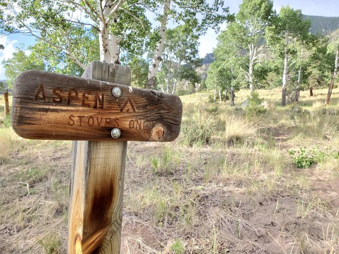 A wooden trail sign points to a sandy trail surrounded by grass leading to a grove of aspens at the Aspen campsite.This wooden trail sign marks the turn off from the main trail for the Aspen campsite.