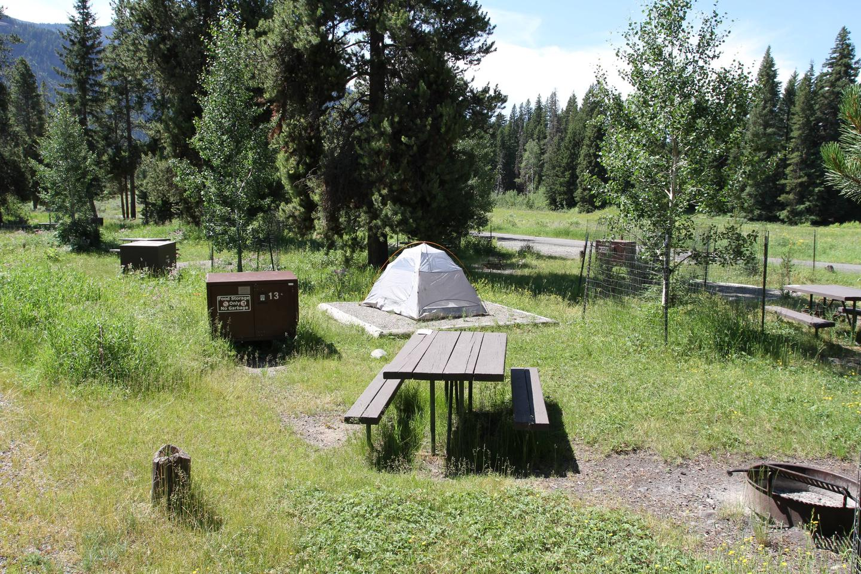Pebble Creek Campground site #13..Pebble Creek Campground site #13