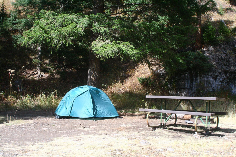 Pebble Creek Campground site #21.Pebble Creek Campground site #21