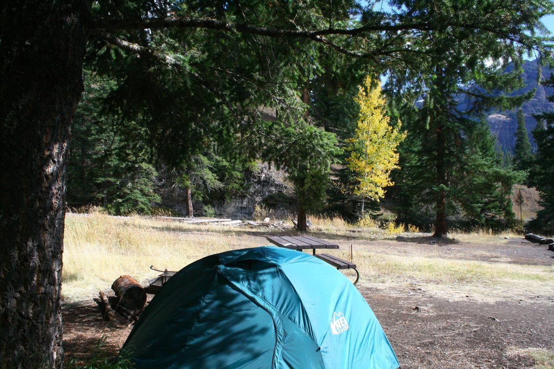 Pebble Creek Campground site #21..Pebble Creek Campground site #21