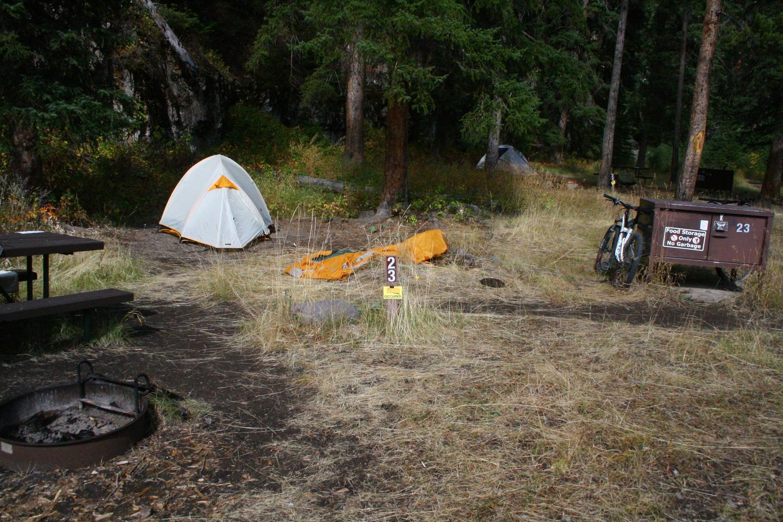 Pebble Creek Campground site #23.Pebble Creek Campground site #23
