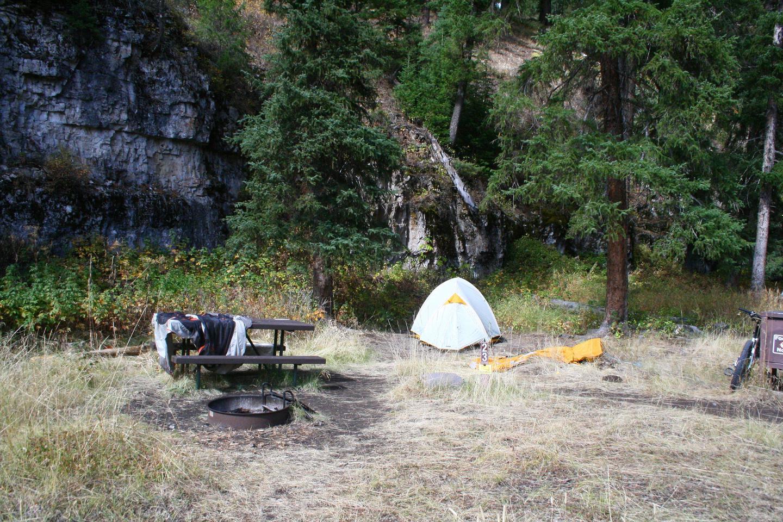 Pebble Creek Campground site #23..Pebble Creek Campground site #23