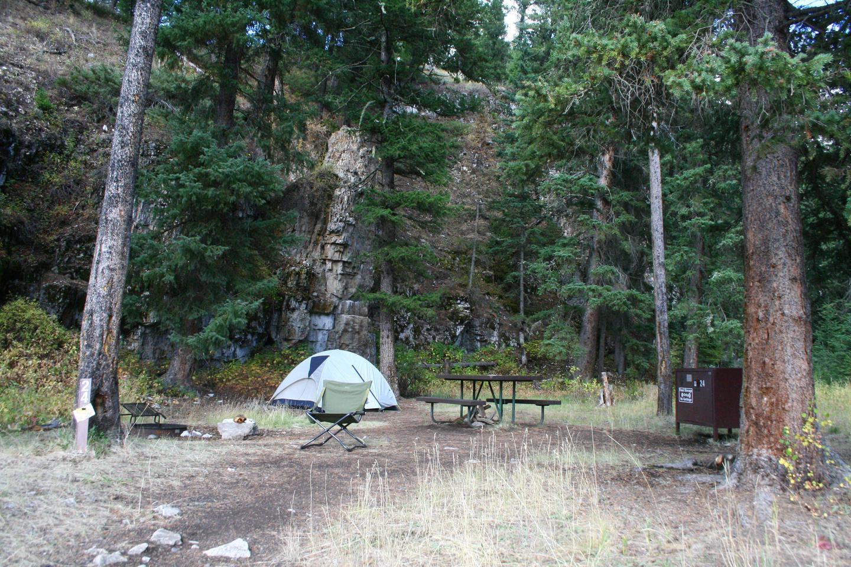Pebble Creek Campground site #24.Pebble Creek Campground site #24