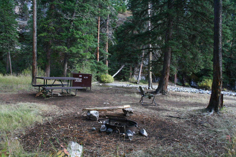 Pebble Creek Campground site #24..Pebble Creek Campground site #24