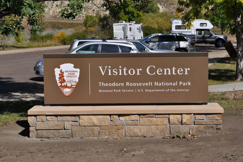 Park Sign at Entrance to South Unit Visitor CenterPark sign at entrance to the South Unit Visitor Center parking lot of TRNP.