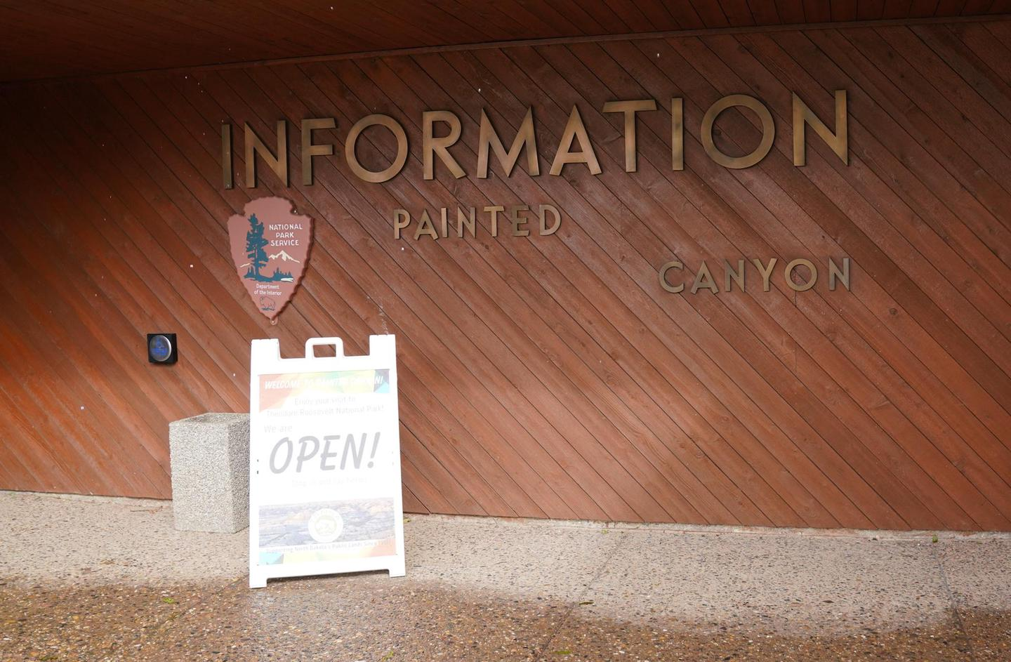 Front of Painted Canyon Visitor CenterEntryway to Painted Canyon Visitor Center open in summer months.