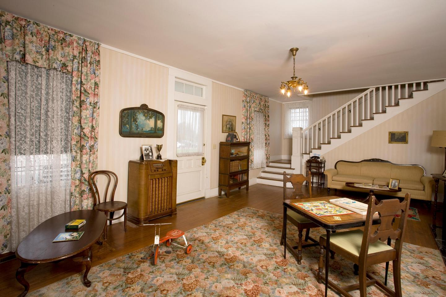 The formal living room of the Clinton Birthplace Home