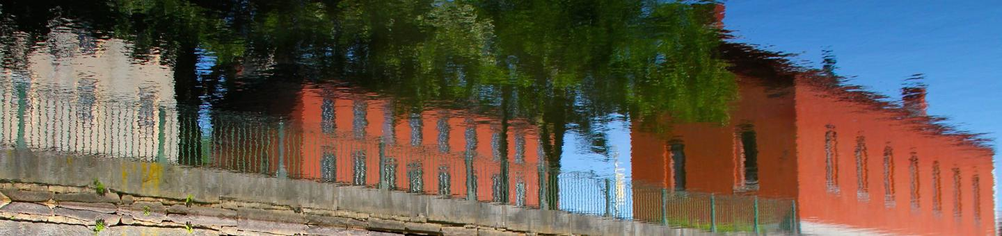 Inverted Reflection of scenery along Merrimack CanalThe waters of the Merrimack Canal reflect the scenery in downtown Lowell.