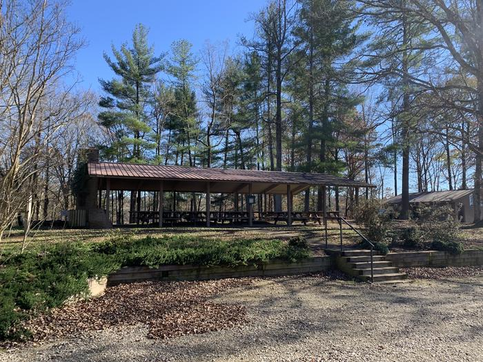 Picnic shelter surround by trees Ann Shelter