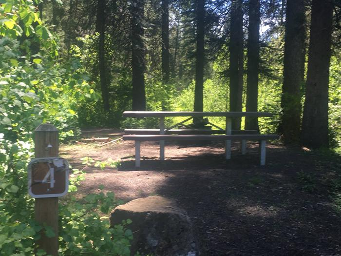 Evergreen Campground Site 4 - forested campsiteEvergreen Campground Site 4