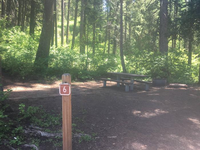 Evergreen Campground Site 6 - forested campsiteEvergreen Campground Site 6