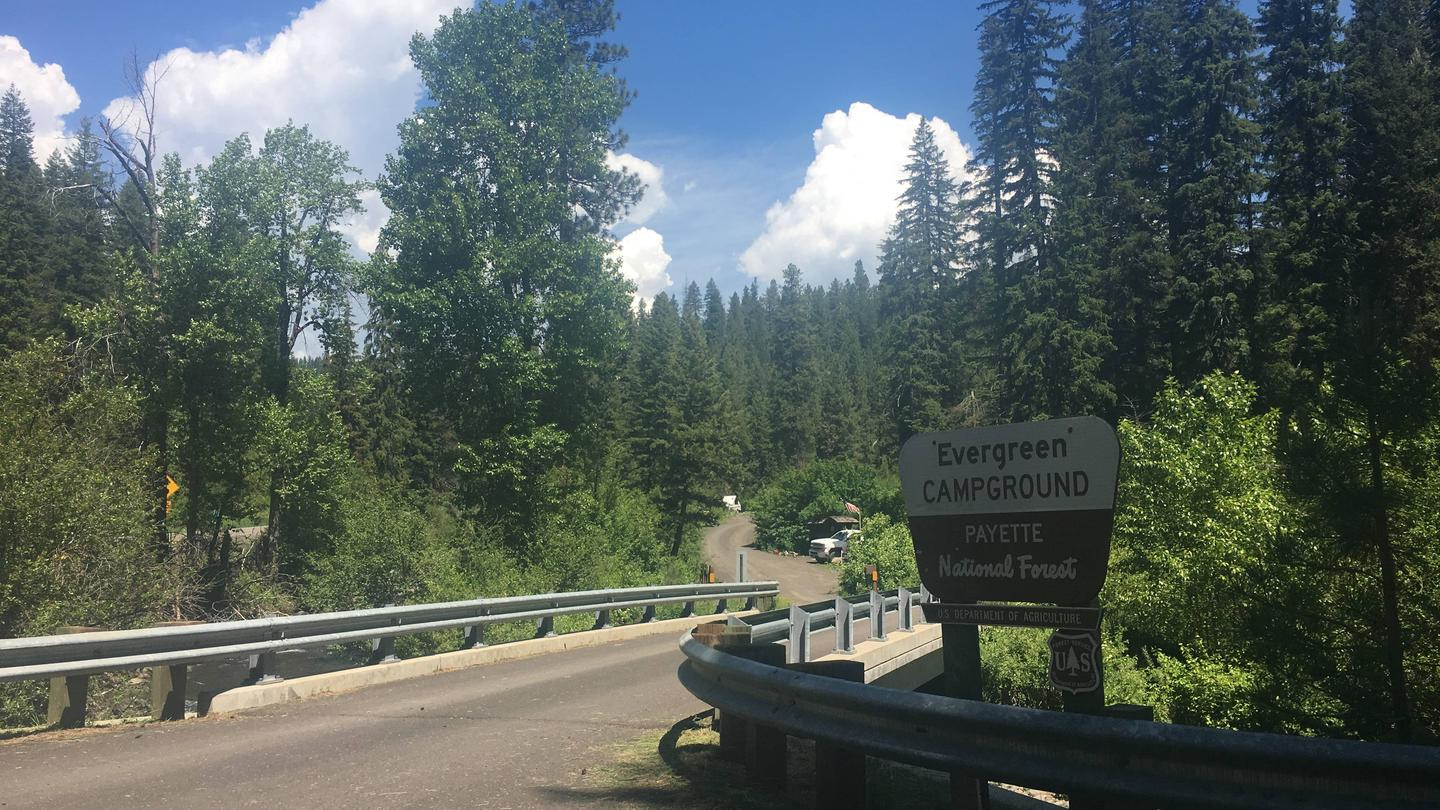 Entrance to Evergreen Campground