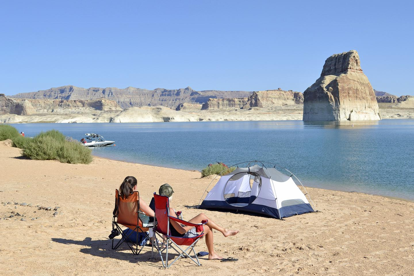 Lone Rock Beach Primitive Camping - TentPitch your tent wherever you want at Lone Rock Beach.