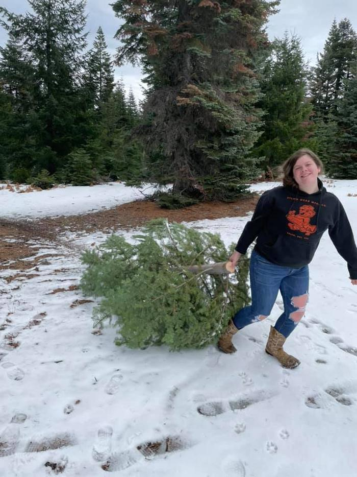 Snow didn't stop Alexis from finding a tree on South Fork Mountain!