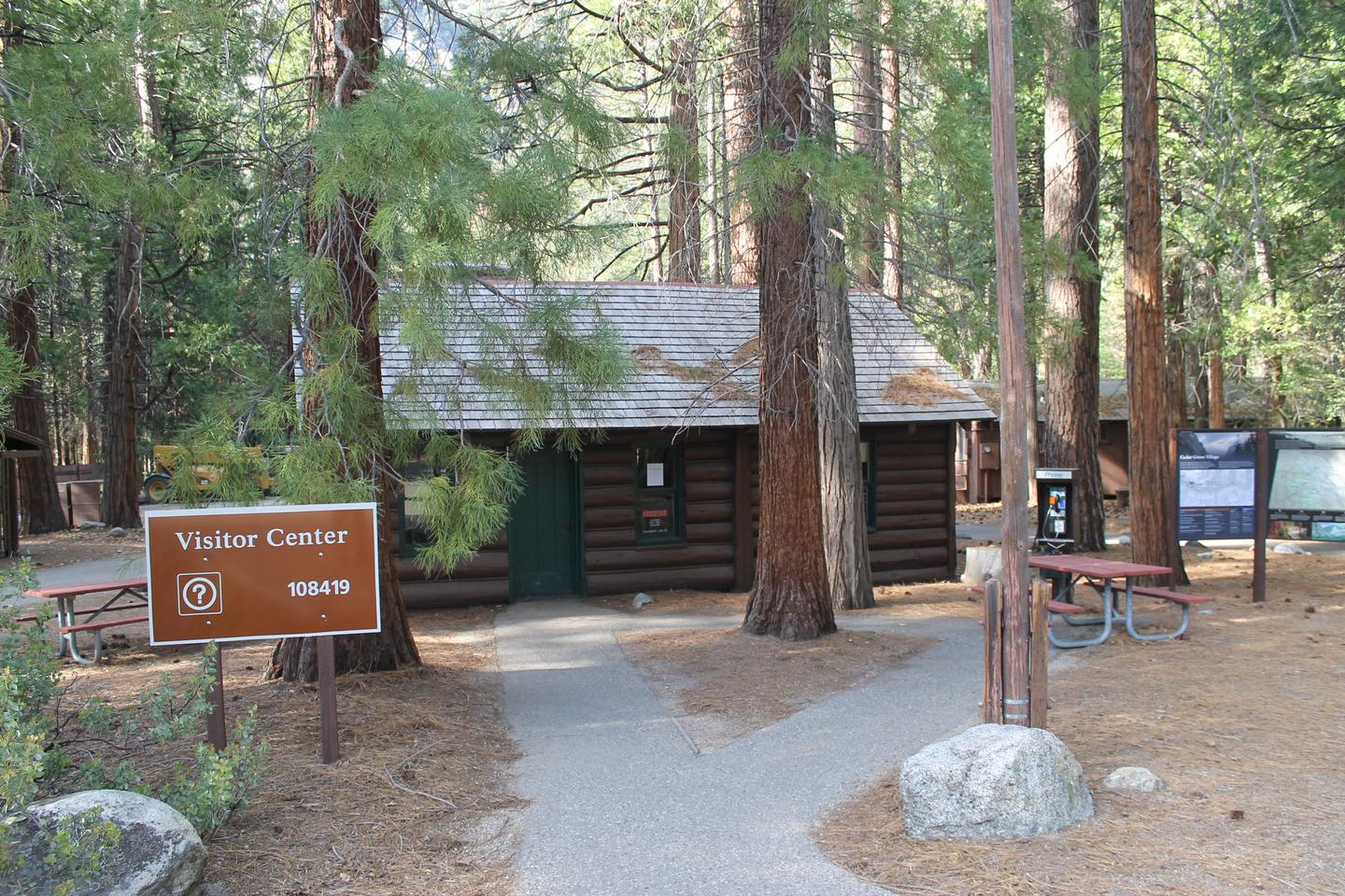 Cedar Grove Visitor CenterAt this quaint log cabin visitor center, you will find exhibits, books, and a ranger available to answer questions.