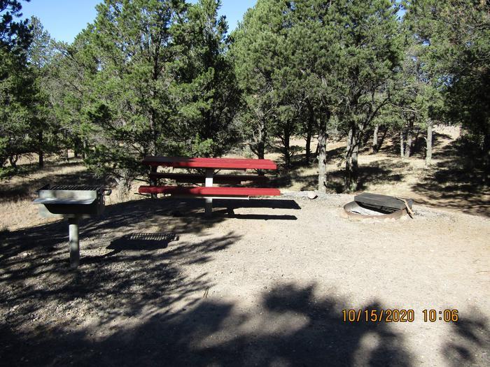 Grill, table, and fire pit Grill, table, and fire pit area