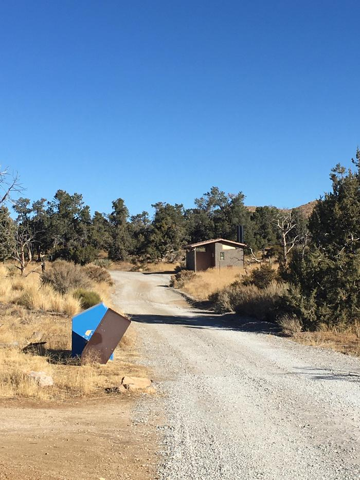 Access Road and BathroomsThere are garbage and recycling containers in the campground, as well as bathroom buildings