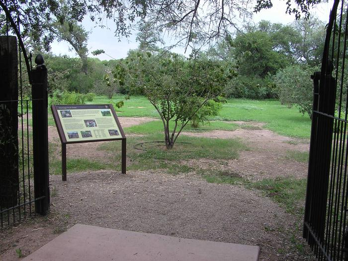 Tumacácori National Historical Park heritage orchard, wayside and fruiting trees in distance. The heritage orchard at Tumacácori National Historical Park was dedicated in 2007.