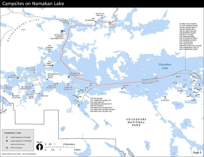 A map depicts each the location of each campsite on Namakan Lake in Voyageurs National Park--all of which are only water-accessible.Map of all campsites on Namakan Lake. All campsites must be accessed by water.