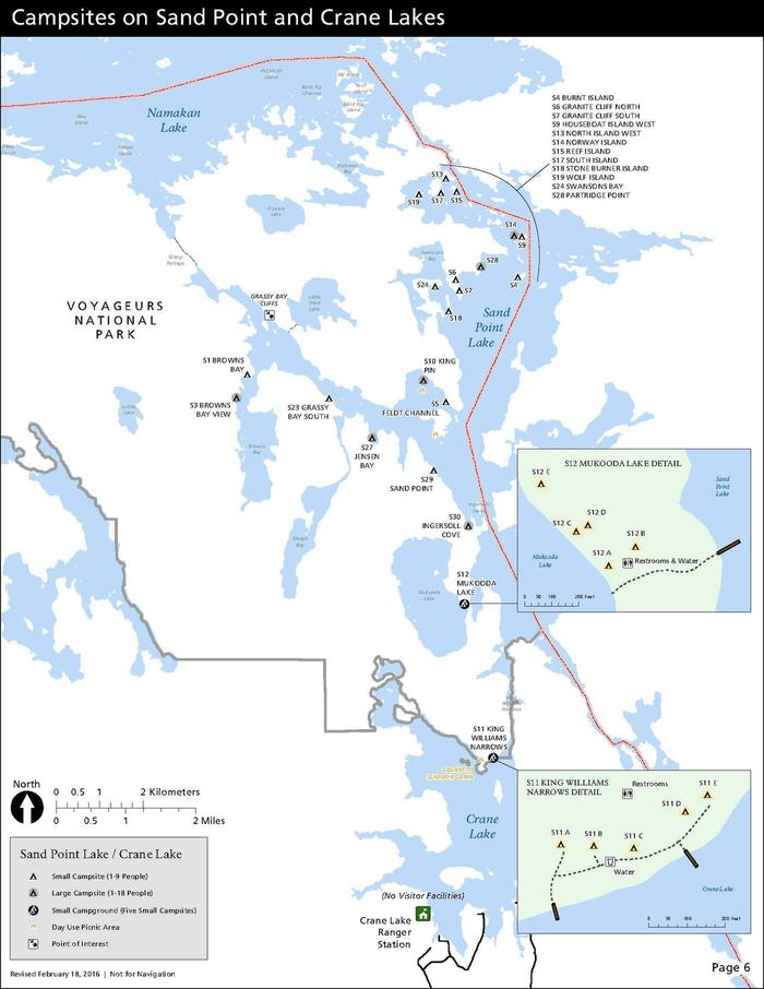 A map depicts each the location of each campsite on Sand Point Lake and Crane Lake in Voyageurs National Park--all of which are only water-accessible.Map of all campsites on Sand Point Lake and on the north end of Crane Lake. All campsites must be accessed by water.