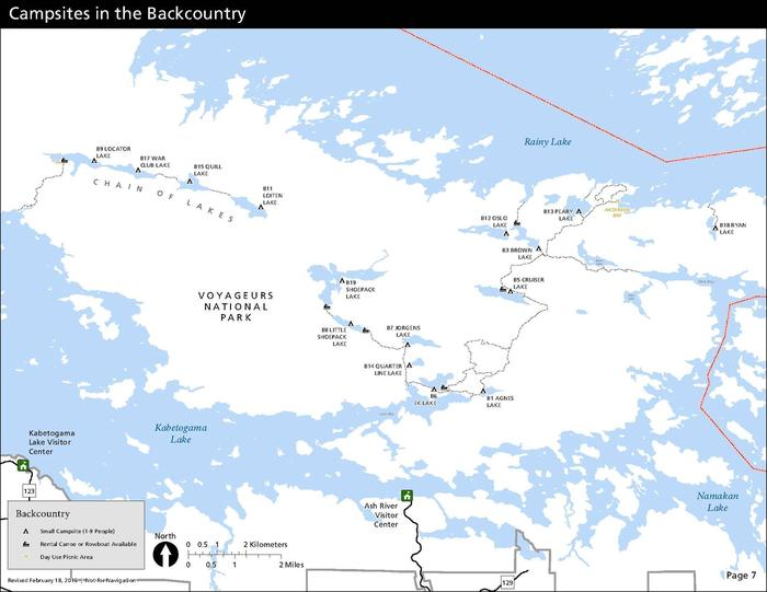 A map depicts each the location of each backcountry campsite in Voyageurs National Park--all of which are only water-accessible, and some of which also require hiking and/or paddling once the large lakes are crossed.Map of all backcountry campsites in Voyageurs. All campsites must be accessed by water. Backcountry campers should expect to boat across Kabetogama, Namakan, or Rainy Lake, then hike and/or paddle a canoe located on one of the small interior lakes to get to their campsite.