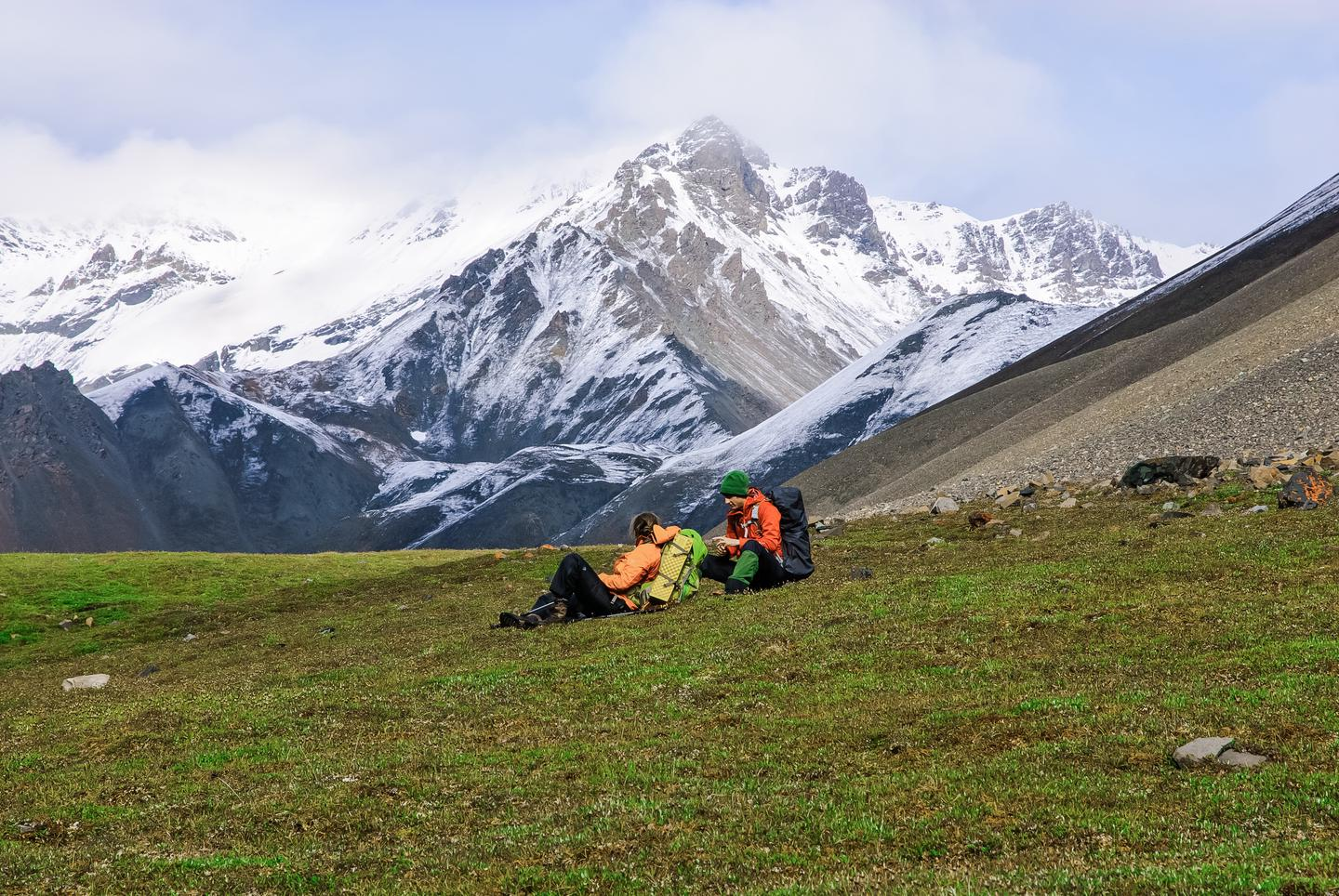 Backpackers in Mentasta MountainsWrangell-St. Elias National Park is a backpacker's paradise.  A variety of routes take you into beautiful country, including the Mentasta Mountains.