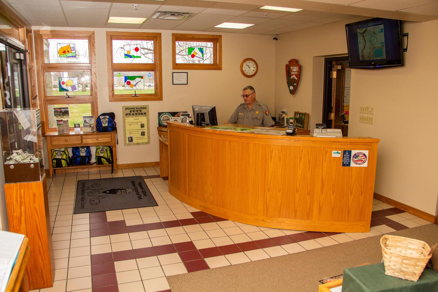 Information DeskAt the information desk, visitors can ask a ranger questions and/or pick up literature regarding the park and purchase bookstore items.