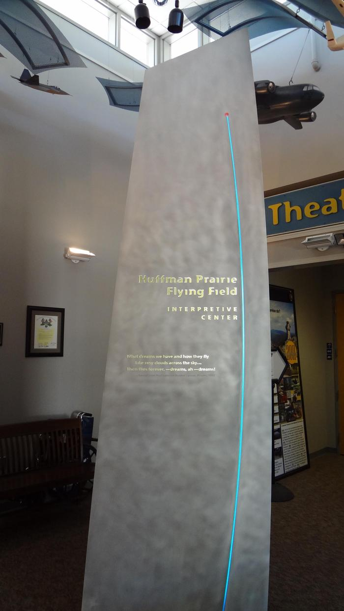 Huffman Prairie Interpretive Center entranceThe centerpiece display in the entrance lobby of the Huffman Prairie Interpretive Center