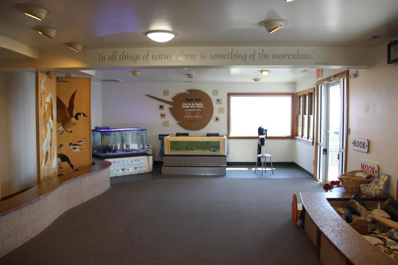 Toms Cove Visitor Center (VA) interior exhibitsThe aquariums are some of the most popular exhibits inside the Toms Cove Visitor Center (VA)