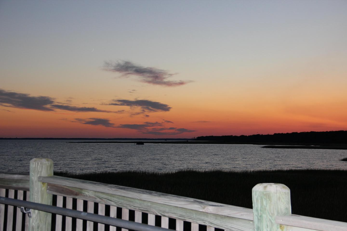 Sunset from the Toms Cove Visitor Center deck (VA)