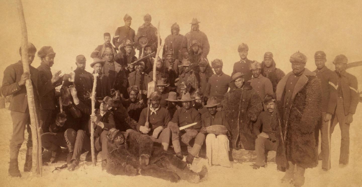 25th Infantry in MontanaBuffalo Soldiers of the 25th Infantry pose for a portrait near Fort Keough, Montana, c.1890.