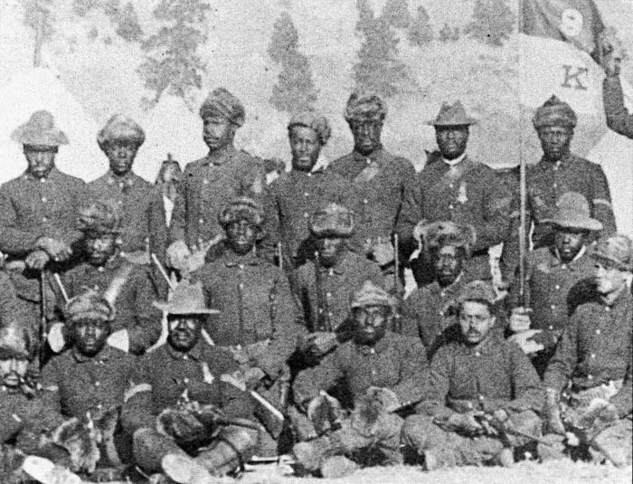9th Cavalry, K TroopTroopers from the 9th Cav, K Troop posing for a group photo, c.1890.