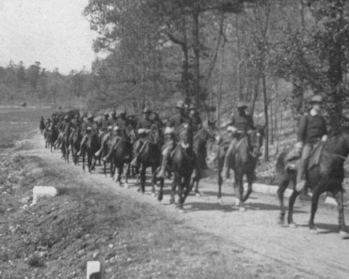 10th Cavalry, Troop K on the moveBuffalo Soldiers of K Troop, 10th Cavalry on the move in Chickamauga, Ga., c.1898