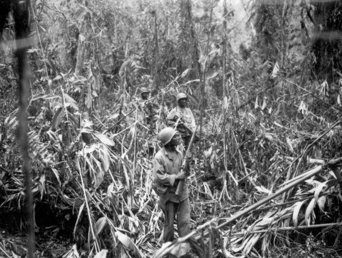 Advancing in the jungle in the South PacificBuffalo Soldiers of the 93rd Infantry advance cautiously in a jungle somewhere in the South Pacific, c.1945
