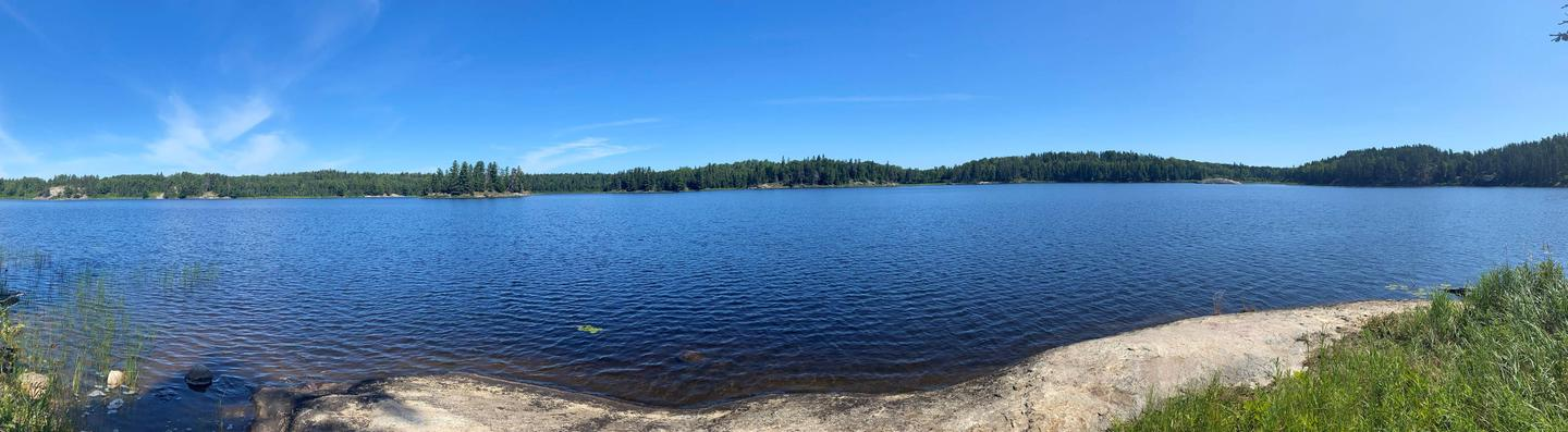 Panoramic view from Peary Lake backcountry campsite