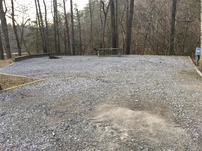Gravel pull in and site with table, fire pit, grill Gravel pull in and site with table, fire pit, grill