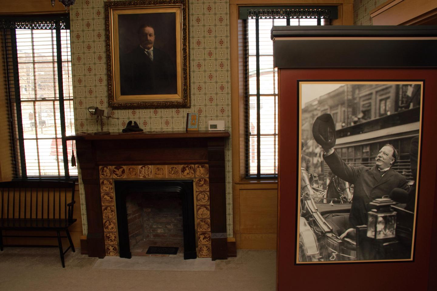 Taft home displayOne of the rooms inside of the Taft home with portrait displays of William Howard Taft and Alphonso Taft.