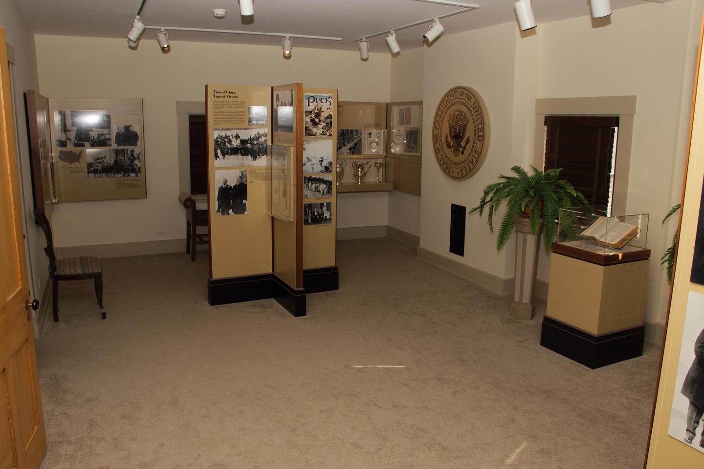 Interpretive Exhibits inside of the Taft homeA room in the Taft home with exhibits focusing on Taft's tenure as President.