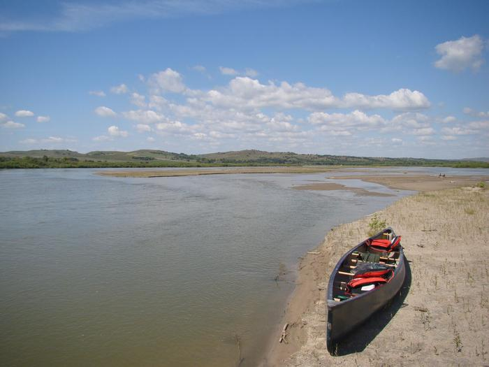 All alone with my canoeGet into nature by paddling the Missouri River.