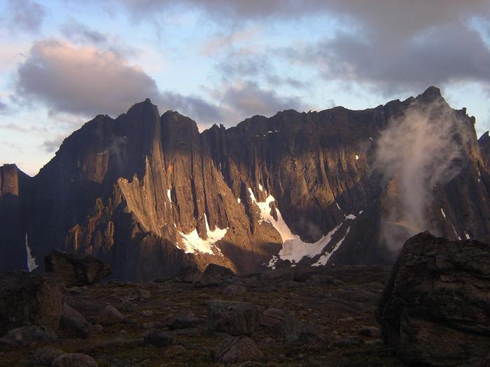 Arrigetch PeaksA spring alpenglow brightens the granite walls of the Arrigetch Peaks