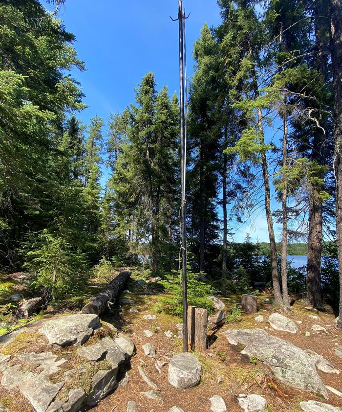 Bear pole at Peary Lake campsite