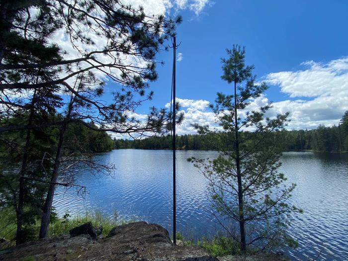 Bear pole on shore of Ryan Lake campsite