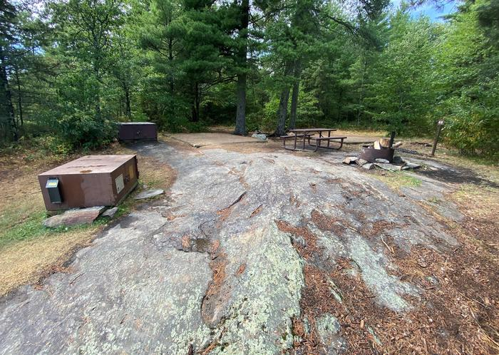 Arden Island core area with bear lockers, picnic table, fire ring and tent padsArden Island core area