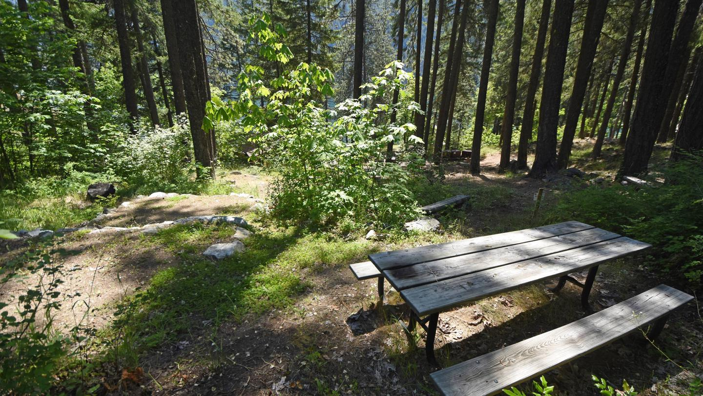 Picnic table at site with trees and lake in the background. Campsite in Lakeview Campground.
