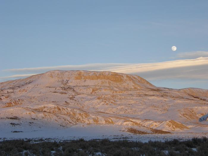 Moonrise Over Fossil ButteFossil Butte is the most noticeable landmark of the park and where the monument got its name.