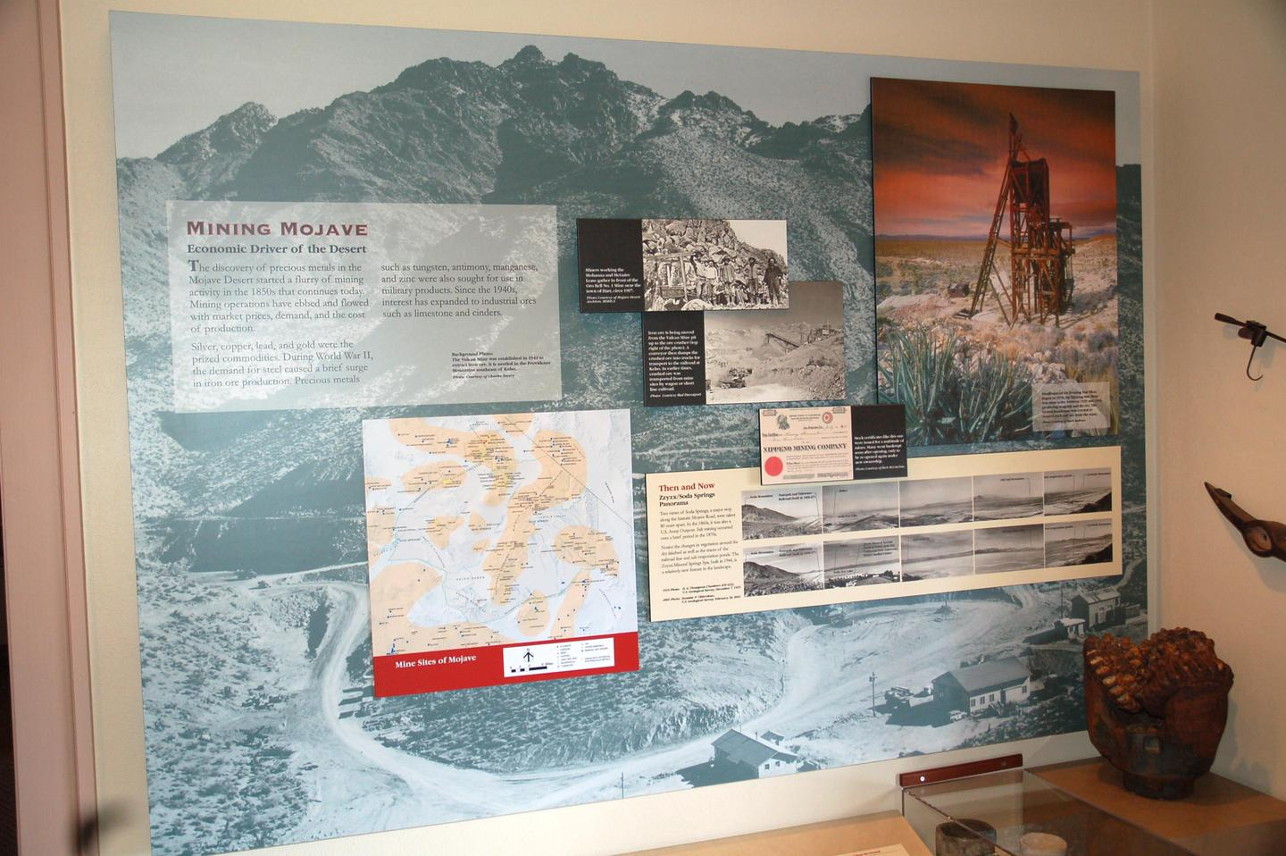 Mining exhibitExhibits in the Kelso Depot Museum are mostly wall-mounted. There are exhibits on mining, railroads, ranching, homesteading, and natural and cultural treasures within the Preserve