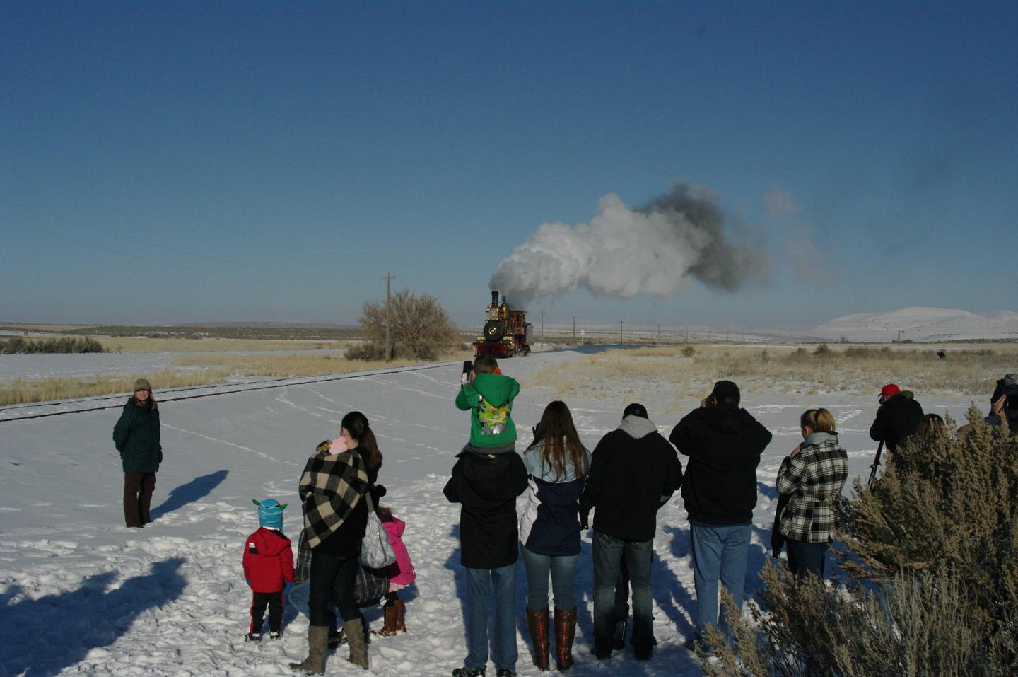 Visitors Watch the Union Pacific Steam Locomotive 119Golden Spike National Historical Park - Union Pacific Steam Locomotive 119