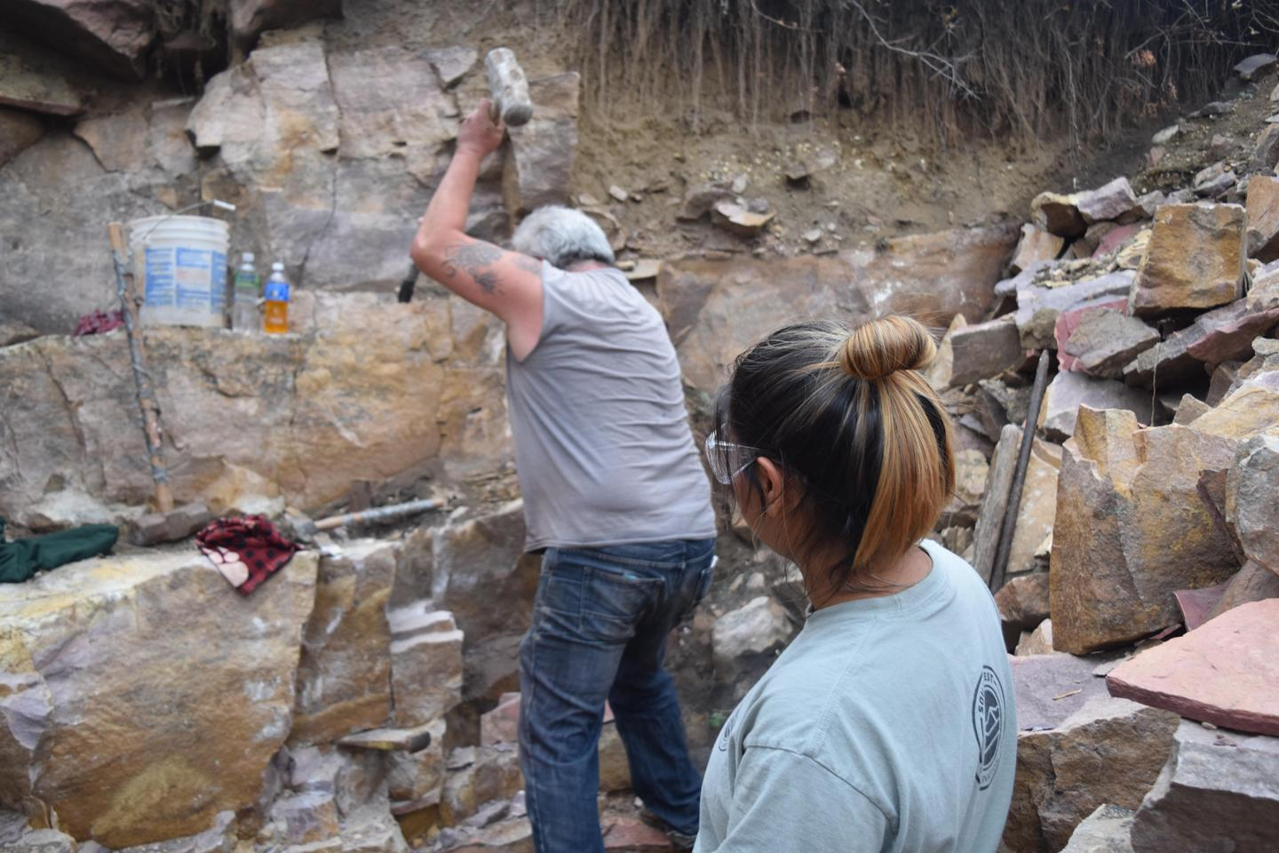 Breaking ThroughQuarriers must break through over 6 feet of quartzite to reach the pipestone layer