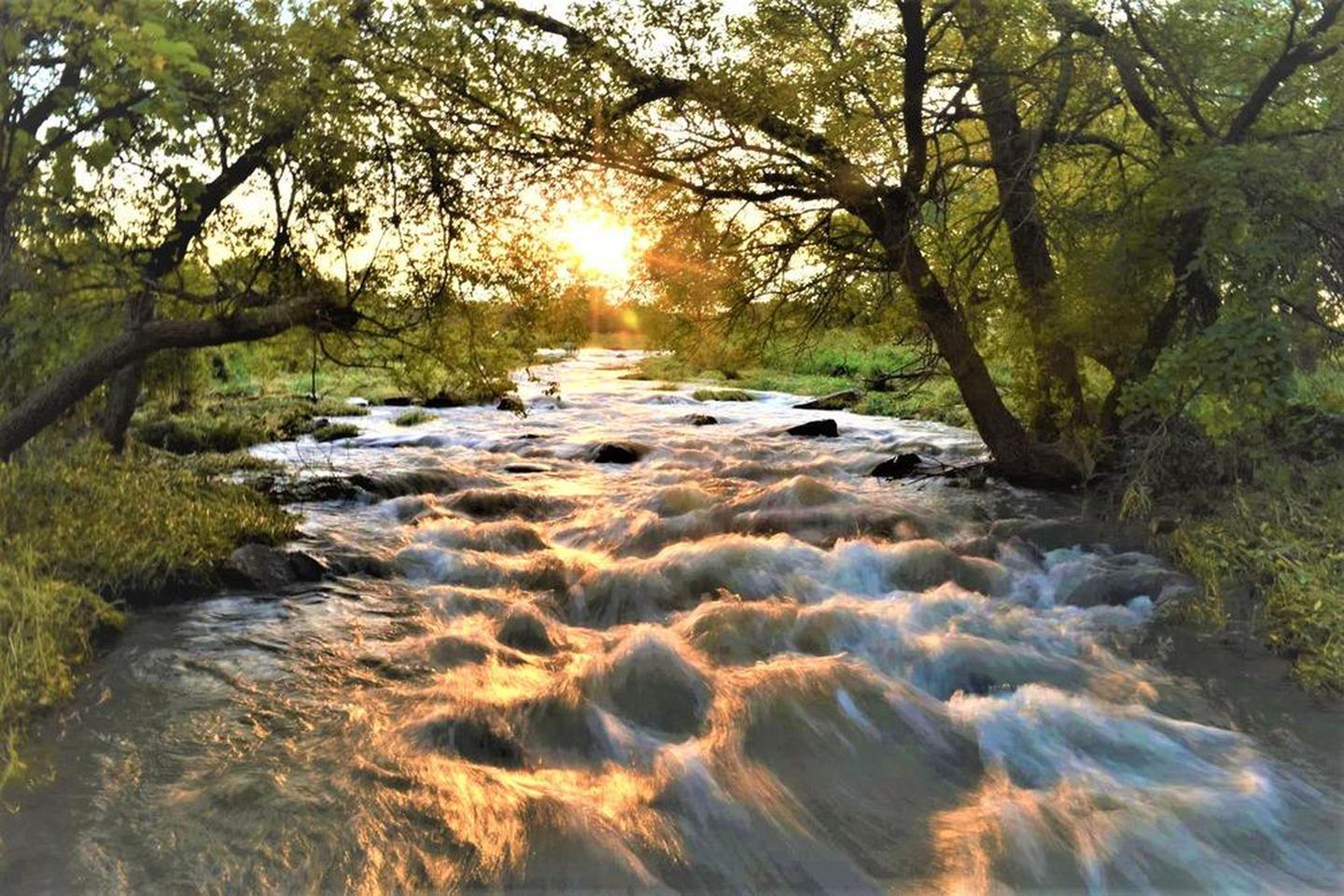 Sunrise over Pipestone CreekThe 3/4-mile Circle Trail is open 7 days a week all year for visitors to enjoy
